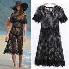 Plus Size Summer Women Sexy Dress Sheer Lace Floral Beach Black Dress M L XL XXL