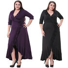 Plus Ruffled 3/4 Sleeves Curve Gowns Bridesmaid Evening Party Dresses Size 1X-5X