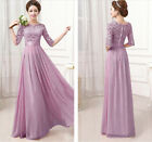 Summer Women Lace Chiffon 3/4 Sleeve Cocktail Evening Party Prom Long Maxi Dress