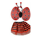 Girls Lady Bird Set of Satin TuTu With Wings and Deeley Bopper Fairy DressOutfit