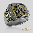 UNIQABLE MASONIC STERLING SILVER 925 18K GOLD PLATED MASON FREEMASON BIBLE RING