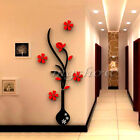 DIY 3D Vase Flower Tree Crystal Arcylic Wall Stickers Decal Home Room Decor