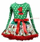 Xmas Birthday Santa Claus 1ST Green White Dot Top Snowman Skirt Girl Outfit 1-8Y