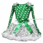 Xmas Green White Dot Top White Bling Sequins Skirt Girl Clothing Outfit Set 1-8Y