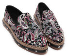 Womens Platform Low Heels Retro Style Canvas Flat Slip On Rivets Loafers Shoes