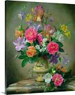 Premium Thick-Wrap Canvas Wall Art entitled Peonies and irises in a ceramic vase