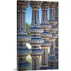 Solid-Faced Canvas Print Wall Art entitled Blue and white ceramic fence,