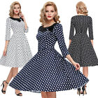 50s Vintage White Black Polka Dot Sleeve Ladies Dress Plus Size S -XL