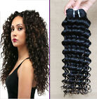 3 bundles Brazilian Remy Deep Wave Curly 100% Human Hair Extension #1b 150g