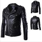 New Men's Motorcycle Brando Style Biker PU Leather Hoodie Jacket Free Shipping