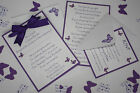 Handmade BUTTERFLY wedding: POSTCARD INVITATION & INSERTS & RSVP; 60 colours