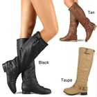 Women's Zipper Military  Flat Heel Buckle Riding Knee High Boot COCO1 Black Tan