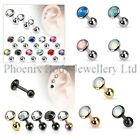 Flat Gem Cartilage Upper Ear Stud Helix Bar - Single Earring or Set 3mm 4mm 5mm