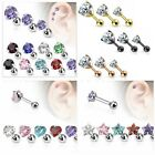 Prong Set CZ Cartilage Upper Ear Stud Earring / Helix Bar - 3mm 4mm or 5mm - UK