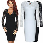 Lady V Neck Slim Fitted Long Lace Sleeve Formal Party Tight Pencil Sheath Dress