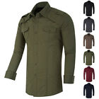 Mens Long Sleeve Shirt Business Work Formal / Casual Dress Shirts Military STYLE