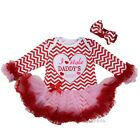 Baby I Stole Daddy's Heart Red Chevron Pink Long Sleeves Bodysuit Tutu