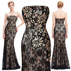 UK Long Strapless Cocktail Womens Sequins Vintage Vintage Maxi Dress Black 4-18