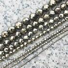 Faceted 2,3,4,6,8,10,12mm Pyrite Round Loose Beads 15""