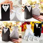 100Pcs Wedding Favor Ribbon Candy Box Bride & Groom Dress Tuxedo Bridal Party