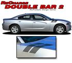 2015-2017 Dodge Charger Hood Hash DOUBLE BAR Side Decals Graphics 3M Pro Vinyl