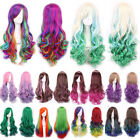 Womens Long Hair Wig Curly Wavy Synthetic Anime Cosplay Full Wigs Mixed Color