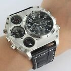 Luxury Quartz Military Stainless Steel Dial Leather Band Wrist Watch Men #L