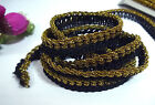 "Topaz Gold Metallic w/ Black Crochet Ribbon Trim Craft 1/2"" 12mm width L586"