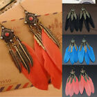 New Jewelry Pendant Vintage Feather Leaves Charms Long Drop Earrings For Women F