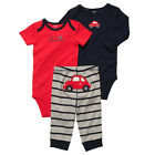 New NWT Carters Baby Boys 3 Piece Bodysuit Set Clothes 6 12 18 24 months Red Car