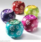 Tea Light Holder Soap Stone Ball Shaped Red Green Blue Purple Pink Flowers New