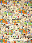 Camping Theme Fabric - Trailor Camper Happy Trails RV Vintage CP56131 - Yard