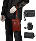 Gents Real Leather Wrist Bag Brown Black Cab Mobile Money Clutch Pouch MAN BAG