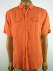 AQUA by TOSCANO Solid Color 100% Linen Short Sleeve Casual Button Front Shirt