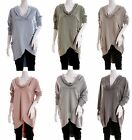 ITALIAN LAGENLOOK Cowl Neck Washed Raw 100% Cotton TUNIC/TOP Boho Pockets QUIRKY