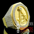 REAL 925 YELLOW SILVER LAB DIAMOND FREE MASON G COMPASS MASONIC PINKY RING BAND