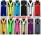 ADJUSTABLE BRACES MENS WOMENS UNISEX TROUSER ELASTIC Y-BACK SUSPENDERS CLIPON B3