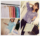 Summer Women's Sexy Thin Casual Linen Loose Long Sleeve T Shirts Tops Blouses