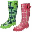 Womens Spot On Tartan Print Wellington Boots / Rubber / Slip On