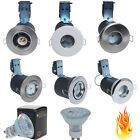 1/10x Fire Rated/IP65 Bathroom GU10 Mains Ceiling Downlight Spotlight + LED Bulb