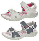WOMENS SPORTS WALKING HIKING TOUCH FASTENING FLAT SANDALS SHOES 4 - 8 NAVY GREY