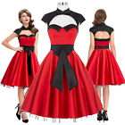 Sexy Formal 50S 60S Swing Red Mini Evening Large Bow Retro Vintage Party Dress