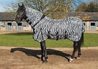 RHINEGOLD ZEBRA PRINT FLY RUG Combo Attached neck with Belly Flap All Sizes