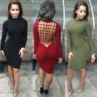 UK STOCK New Women Sexy Backless Long Sleeve Bandage Club Bodycon Party Dress