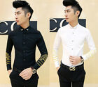New Men's Stylish Gold Embroidery Slim Fit Long Sleeve Casual Dress Shirt Top