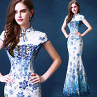 Chinese's Blue and white porcelain Cheongsam Formal Evening Prom Party Dress