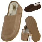 Lambland Mens / Ladies Sheepskin Suede Slippers with Hard Wearing Sole