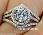 2CT Round Halo cut Simulated Diamond Engagement Ring Wedding Set Sterling Silver