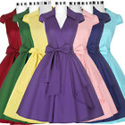 Women Vintage 50s Retro Swing Dress Pin Up Pleated Bridesmaid Housewife Dress
