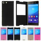 Luxury Flip Folio Leather Window View Slim Case Cover For Sony Xperia M5